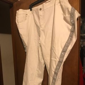 Plus size white jeans with silver embellishment